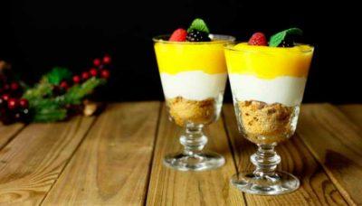 Cremoso de yogurt y mango