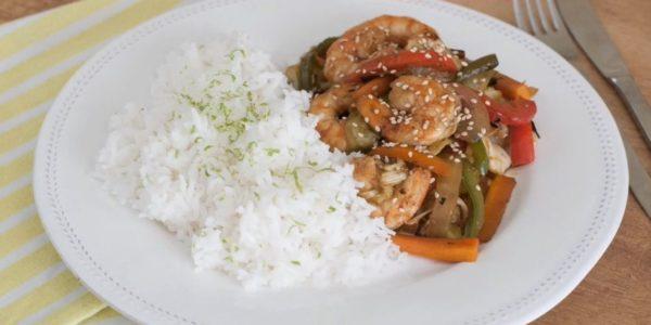 Receta Exprés Brandt: Verduras con langostinos al wok