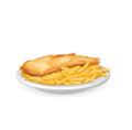 Plato de pescado frito y patatas fritas