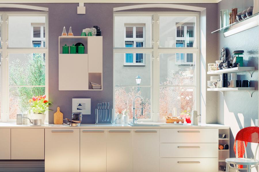 Cocina con ventanas