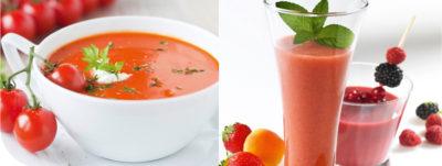 Crema de tomate y batido de fresa